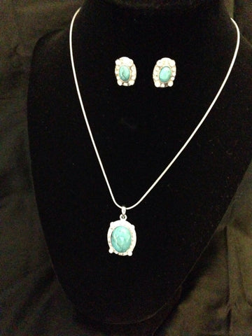 Turquoise Necklace And Earring Set - All That Glitters