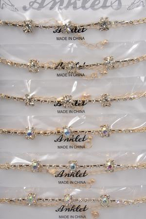 Gold Rhinestone Flower Anklet - All That Glitters