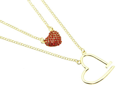 Double Chain Heart Necklace - All That Glitters