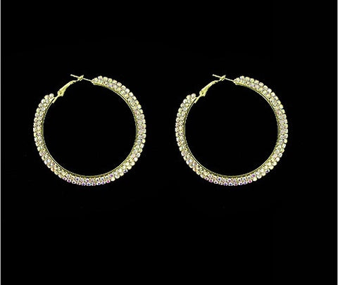 Rhinestone Hoop Earrings - All That Glitters