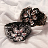 Acrylic  Hinged Flower Bangle Bracelet - All That Glitters - 2