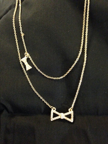 Double Chain With Bow Necklace Set - All That Glitters