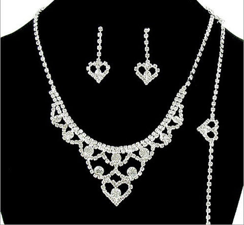 Formal Rhinestone Necklace, Earring And Bracelet Set - All That Glitters