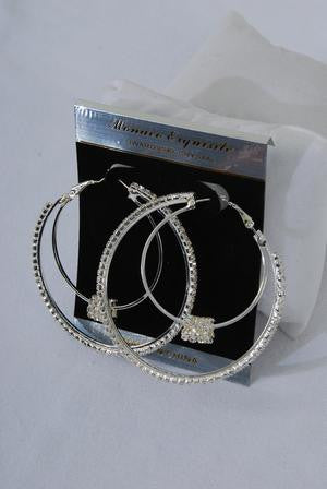 Double Hoop Earrings with Moving Rhinestones - All That Glitters