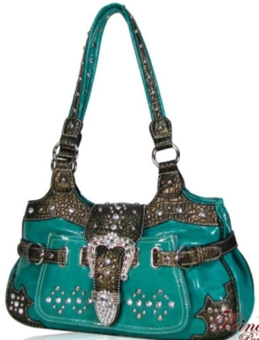 Designer Inspired Crocodile Skin Handbag w/ Fold Over Belt And Studs Accent-Turquoise - All That Glitters
