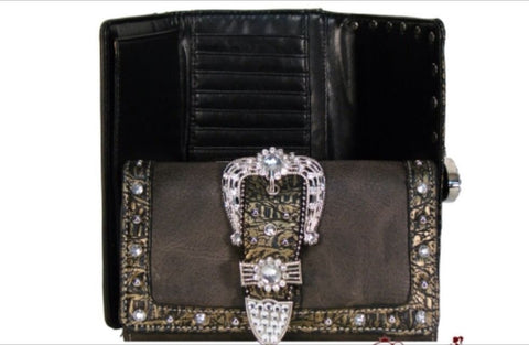 Designer Inspired Crocodile Skin Wallet w/ Fold Over Belt And Studs Accent - All That Glitters