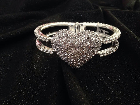 Rhinestone Heart Bangle - All That Glitters
