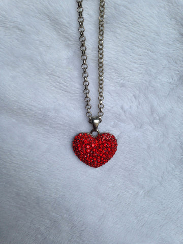 Red Crystal Heart Necklace - All That Glitters