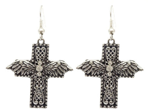 Marcasite Cross Earrings - All That Glitters
