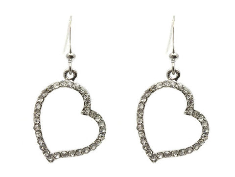 Crystal Heart Dangle Earrings - All That Glitters