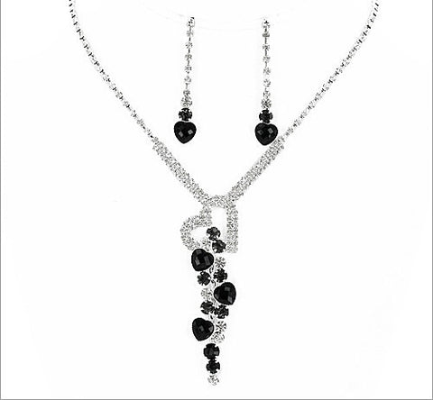 Formal Rhinestone Necklace And Earring Set - All That Glitters - 1