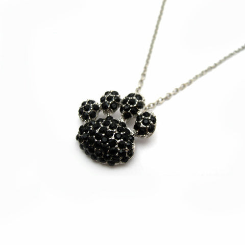 Rhinestone Paw Print Necklace - All That Glitters - 2