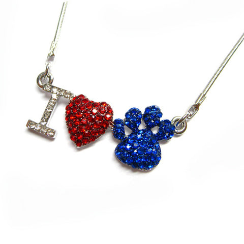 I Love Paw Print Necklace - All That Glitters - 2