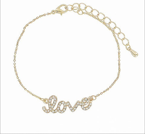 Crystal Stone Love Accent Bracelet - All That Glitters