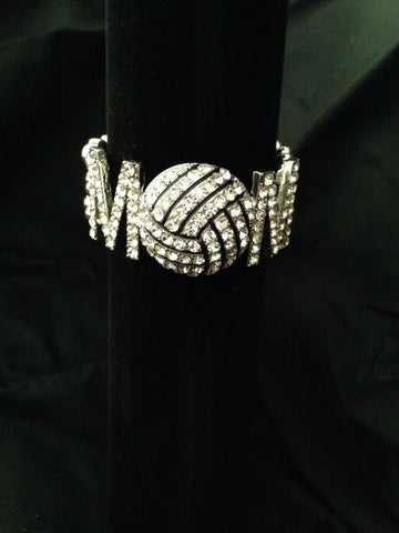 Rhinestone Volleyball Mom Bracelet - All That Glitters