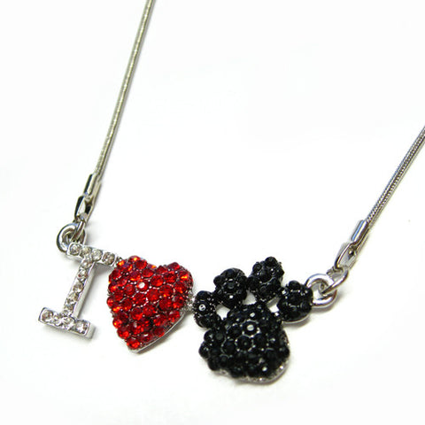 I Love Paw Print Necklace - All That Glitters - 1
