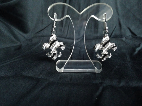 Black and White Fleur De Lis Dangle Earrings - All That Glitters