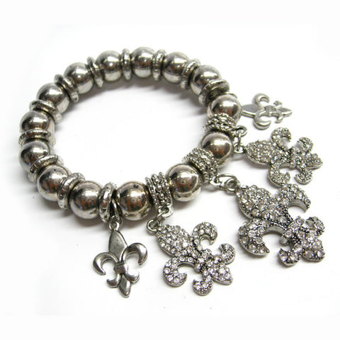Fleur De Lis Stretch Charm Bracelet - All That Glitters
