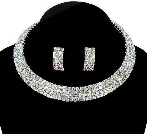 Formal Rhinestone Choker And Earring Set - All That Glitters
