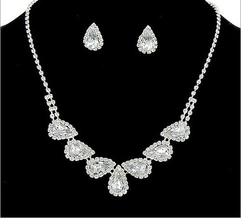 Formal Rhinestone Necklace And Earring Set - All That Glitters
