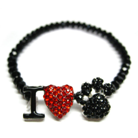 I Love Paw Print Bracelet - All That Glitters - 1