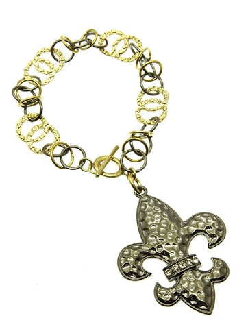 Crystal Bead Fleur De Lis Bracelet - All That Glitters