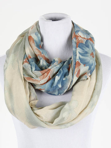 Floral Print Infinity Scarf - All That Glitters - 1