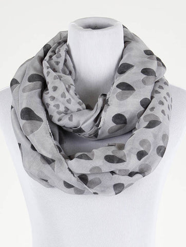 Heart Print Infinity Scarf - All That Glitters