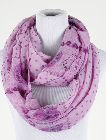 Heart Print Infinity Scarf - All That Glitters - 2