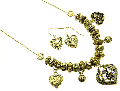 Heart Earring and Necklace Set - All That Glitters