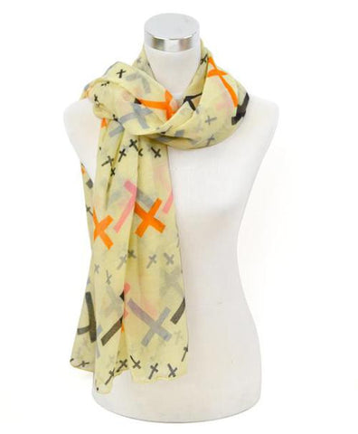 Oblong Cross Print Scarf - All That Glitters - 4