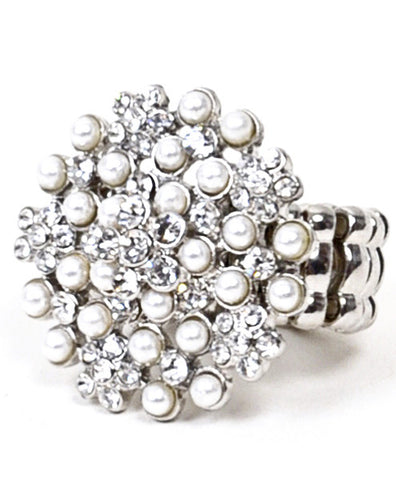 Crystal and Pearl Stretch Ring - All That Glitters