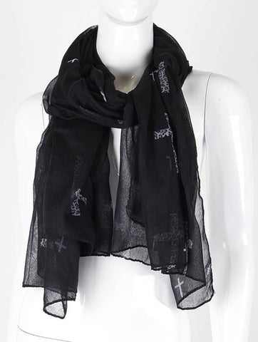 Sheer Cross Print Scarf - All That Glitters