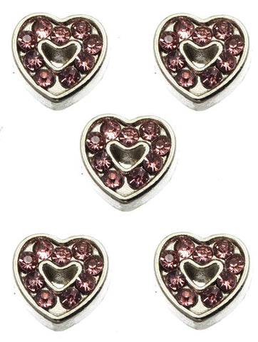 Pink Stone Heart Floating Charm - All That Glitters