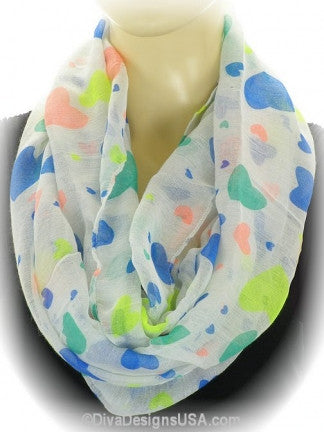 Heart Print Infinity Scarf - All That Glitters - 1