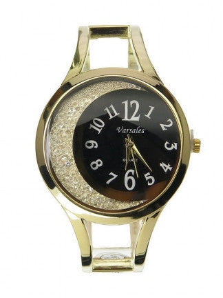 Floating Crescent Crystal Trim Bangle Watch - All That Glitters - 1