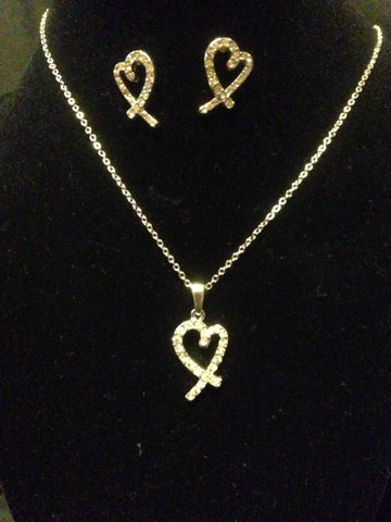 Heart Necklace and Earring set - All That Glitters
