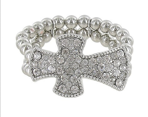 Rhinestone Cross Stretch Bracelet - All That Glitters