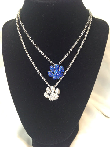 Rhinestone Paw Print Necklace - All That Glitters - 1