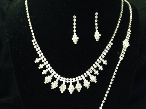 Formal Rhinestone Necklace, Earring And Bracket Set - All That Glitters