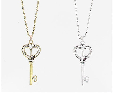 Rhinestone  Heart Key Necklace - All That Glitters