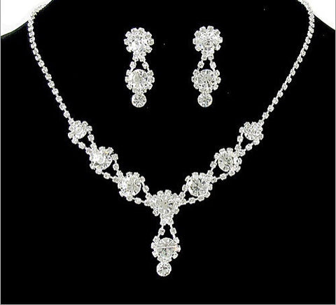 Formal Rhinestone Necklace And Earring Set - All That Glitters - 2