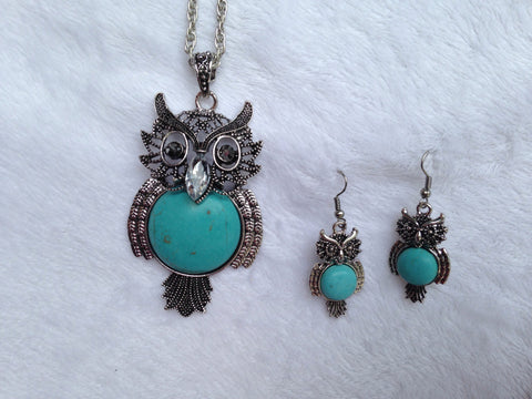 Magnesite Round Belly Owl Pendant and Earring Set - All That Glitters