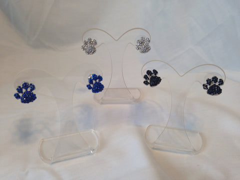 Rhinestone Paw Print Post Earrings - All That Glitters - 1