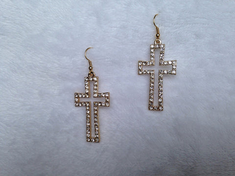 Cutout Crystal Cross Dangle Earrings - All That Glitters