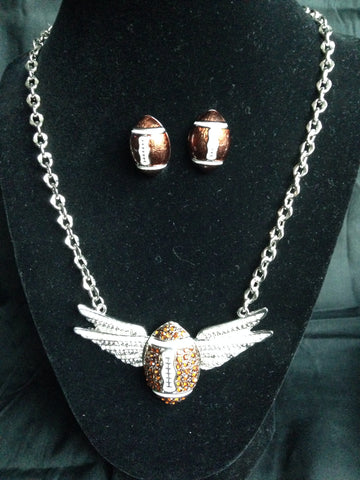 Football Wings Necklace Set - All That Glitters