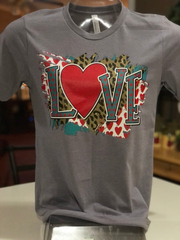 Teal And Red Love T-shirt