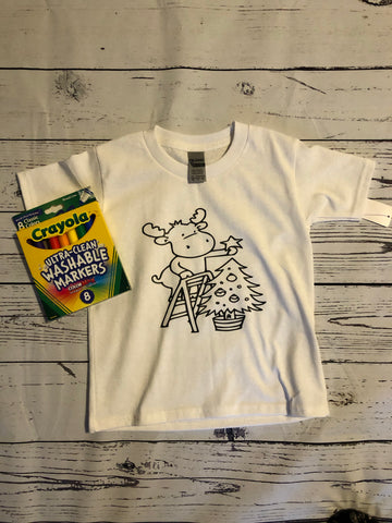 Kids Christmas Coloring Book T-Shirt w/markers