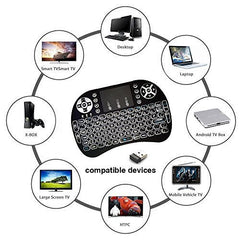 i8 Mini+ 2.4GHZ RF Wireless Keyboard with Touchpad Mouse, Backlit, Rechargable