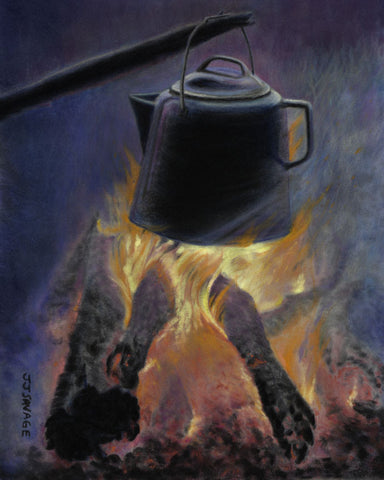 Kettle on campfire – study